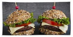 Two Gourmet Hamburgers Beach Towel by Elena Elisseeva