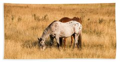 Beach Towel featuring the photograph Two Horses by Cathy Donohoue
