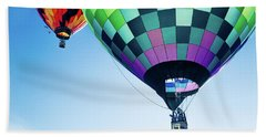 Two Hot Air Balloons Ascending Beach Towel