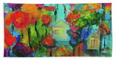 Two Houses Beach Towel by Haleh Mahbod