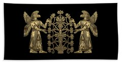 Two Instances Of Gold God Ninurta With Tree Of Life Over Black Canvas Beach Towel