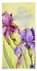Two Irises  Beach Sheet