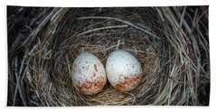 Beach Towel featuring the photograph Two Junco Eggs In The Nest by William Lee