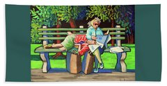 Two Ladies On Bench Beach Towel