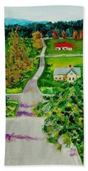 Two Lane Highway Beach Towel by Mike Caitham