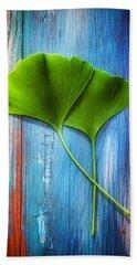 Two Leaves Of Ginkgo Biloba Beach Sheet