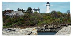 Beach Towel featuring the photograph Two Lights - Maine by Joseph Hendrix