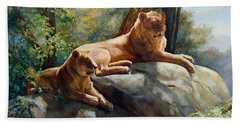 Beach Sheet featuring the painting Two Lions - Forever And Always Together by Svitozar Nenyuk