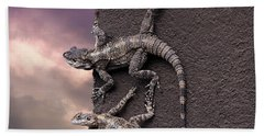 Two Lizards On The Edge Of The Roof Beach Towel
