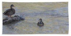 Two Mallard Ducks Beach Towel