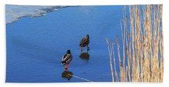 Two Mallards On Ice Beach Towel