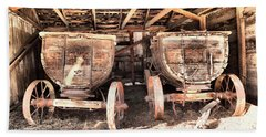 Beach Sheet featuring the photograph Two Old Wagons by Jeff Swan