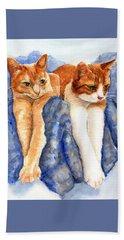 Two Orange Tabby Cats Beach Towel