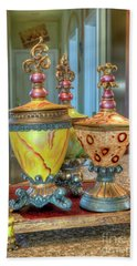 Two Ornate Colorful Vases Or Urns Art Prints Beach Towel