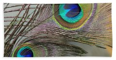 Two Peacock Feathers Beach Towel