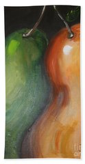 Beach Towel featuring the painting Two Pears by Jolanta Anna Karolska