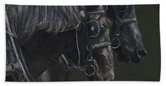 Two Percherons Beach Sheet by Kathy Russell