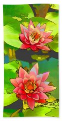 Two Pink Blooming Water Lilies  Beach Sheet by Lanjee Chee