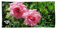 Two Pink Roses Version 1 Beach Towel