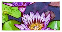Two Purple Lotus Flower Beach Sheet by Lanjee Chee