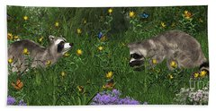 Two Raccoons  With Butterflys Beach Sheet by Walter Colvin