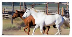 Two Ranch Horses Galloping Into The Corrals Beach Towel
