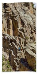Beach Towel featuring the photograph Two Rock Climbers Making Their Way by James BO Insogna