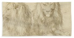 Two Seated Lions Beach Towel
