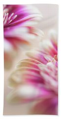 Beach Towel featuring the photograph Two Souls. Macro Gerbera by Jenny Rainbow