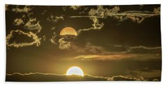 Two Suns Setting Beach Towel