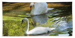 Two Swans On A Lake Beach Towel