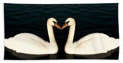 Two Symmetrical White Love Swans Beach Towel
