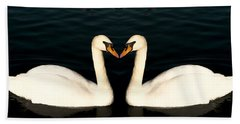 Two Symmetrical White Love Swans Beach Sheet
