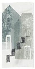 Two Tall Houses- Art By Linda Woods Beach Towel
