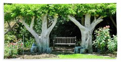 Two Tall Trees, Paradise, Romantic Spot Beach Towel by Gandz Photography