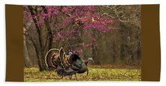 Two Tom Turkey And Redbud Tree Beach Sheet by Sheila Brown