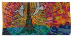 Beach Towel featuring the painting Two Turtle Doves by Denise Weaver Ross