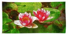 Two Waterlily Flower Beach Sheet by Lanjee Chee
