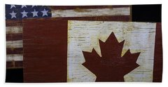 Two Wooden Flags American And Canadian Beach Towel