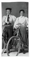 Two Young Ladies With Their Bicycles Circa 1895 Beach Towel
