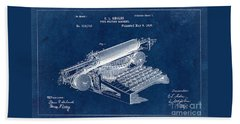 Type Writing Machine Patent From 1896 - Blue Beach Towel