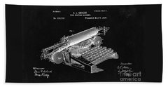 Type Writing Machine Patent From 1896  - Black Beach Towel