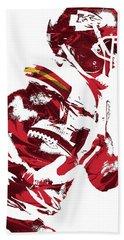 Beach Towel featuring the mixed media Tyreek Hill Kansas City Chiefs Pixel Art 1 by Joe Hamilton