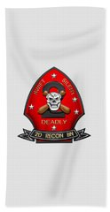U S M C  2nd Reconnaissance Battalion -  2nd Recon Bn Insignia Over White Leather Beach Towel