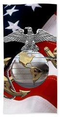 U S M C Eagle Globe And Anchor - C O And Warrant Officer E G A Over U. S. Flag Beach Towel