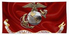 U. S.  Marine Corps - U S M C Eagle Globe And Anchor Over Corps Flag Beach Towel