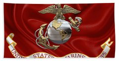 U. S.  Marine Corps - U S M C Eagle Globe And Anchor Over Corps Flag Beach Towel