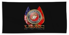 U. S. Marine Corps U S M C Emblem On Black Beach Towel by Serge Averbukh