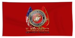 U. S. Marine Corps U S M C Emblem On Red Beach Towel by Serge Averbukh