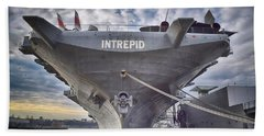 U S S   Intrepid Beach Towel by Dyle Warren